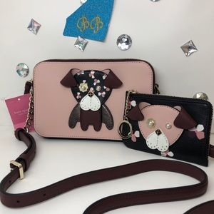 KATE♠️SPADE DOUBLE ZIP FLORAL PUP CROSSBODY+WALLET